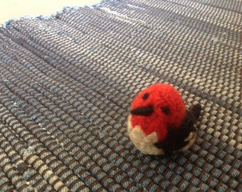 Felted Red Headed Woodpecker  Large but Mini