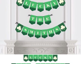 St. Patrick's Day Bunting Banner - Personalized St. Patty's Day Party Bunting Banner & Decorations - - Hanging Saint Patrick's Day Décor