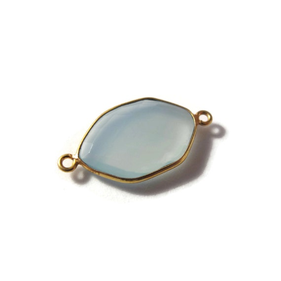 One Blue Gemstone Pendant, Light Blue Chalcedony Gemstone Charm, Gold Plated Bezel, 26mm x 14mm, Jewelry Supplies (C-Ch1b)