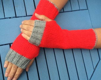 Hand knit fingerless gloves, wrist warmers, fingerless mittens, arm warmers, gloves.
