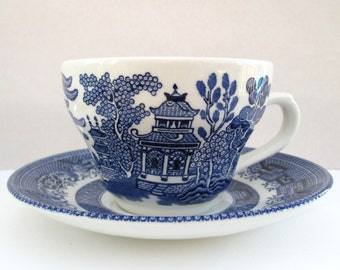Blue white china tea cup planter, upcycled repurposed Willow pattern tea cup saucer, ceramic plant pot, grandmother gift idea, garden lover