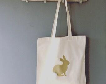 Tote bag, BAG FOR LIFE, Bunny rabbit tote bag, Bunny rabbit shopping bag, Easter gift bag