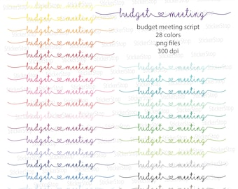 Budget Meeting Script Icon Digital Clipart in Rainbow Colors - Instant download PNG files