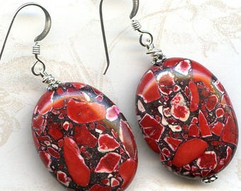 Red Mosaic Sterling Silver Earrings