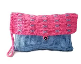 X's Pink & Blue Crochet Wristlet