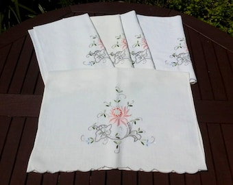 Set of 5 Vintage Hand Embroidered Cream Linen Chair Backs