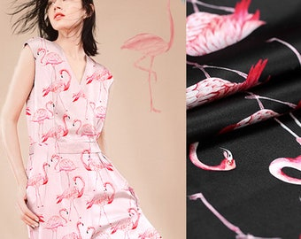 108CM Wide 19MM Flamingos Print Pink Black Strech Silk Satin Fabric for Elegant Women's Blouse Dress Clothing Cheongsam E337