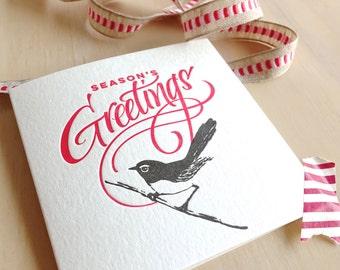 Letterpress Christmas card, Australian willie wagtail, hand lettered, wren bird, Season's Greetings holdiday card made in Australia