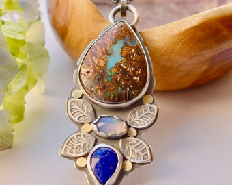 Koroit Boulder Opal Necklace, Opal Pendant, Gemstone Pendant, October Birthstone, Lapis Lazuli Jewelry, Mixed Metals, Gold Details, Gift