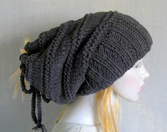 Black Tube Hat Dreadlocks Headband Wrap Hair Band Winter Accessory Dreadband Wrap Dreadlock Hat Slouchy Dreads Tam XXL Dread Hat Wide dread