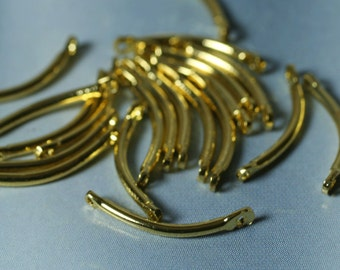 Gold plated curve link 15mm long 1mm (18g) thick, 20 pcs (item ID 1.2-15SHGP)