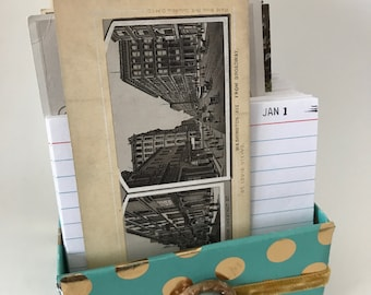 Perpetual Calendar Journal Box - Turquoise with gold dot paper box