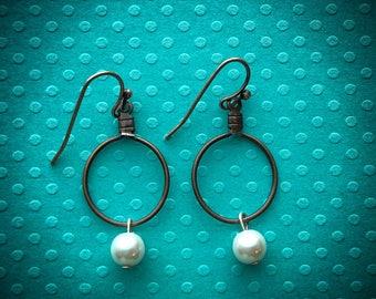 Bronze Hoop and Pearl Bead