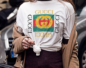 Gucci Distressed Design Black and White T shirt