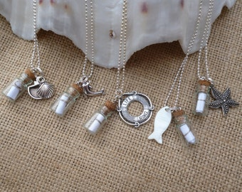 Miniature Message in a Bottle Necklace. Personalised with your own message.Silver Plated Chain. Charms