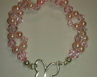 Double Strand Crystal Beaded Butterfly Bracelet