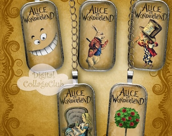 Alice in Wonderland Domino Images 1 x 2 Inches Rectangle Digital Collage Sheet Images for Jewelry, Decoupage, Decorations, Labels