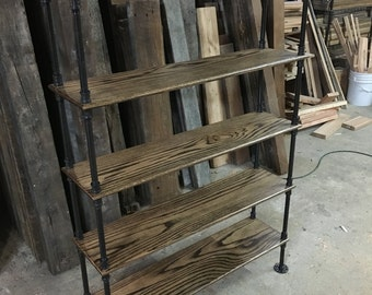 Oak Industrial Pipe Bookshelf