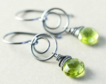 Peridot Dangle Earrings, Lime Green Drop Earrings, August Birthstone
