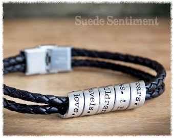 Mens Personalized Jewelry • Anniversary Gifts For Men • Mens Bracelet • Long Distance Relationship • Jewelry Men