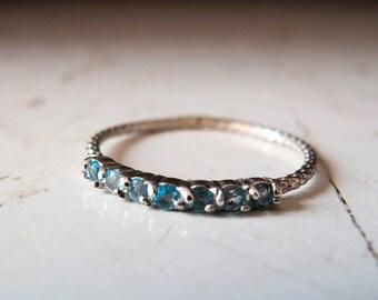 Blue topaz ring  - 7 stone ring - half eternity ring - Blue stone ring - Ring with Blue stones - November Birthstone