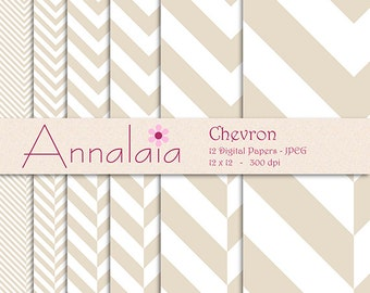 INSTANT DOWNLOAD Digital Paper Pack: Bone Beige and White Chevron Herringbone Stripes Zig Zag Zigzag Scrapbook Paper 186