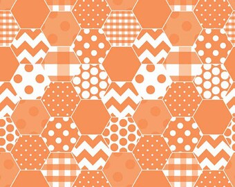 One Yard Hexi Print - Hexi in Orange - Cotton Quilt Fabric - RBD Designers for Riley Blake Designs - C770-60 (W3302)