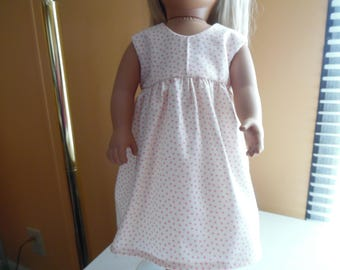 """Pink dots on Cream dress for 18"""" dolls"""