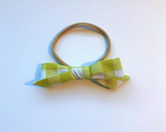 Citrus Green Plaid // School Girl Bow