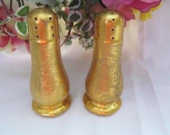Vintage Ceramic Gold Floral Salt Pepper Shakers
