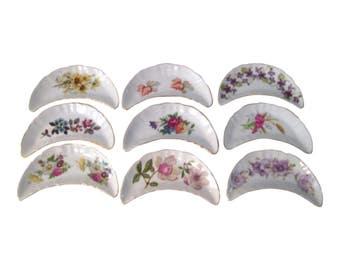 Botanical Porcelain Bone Dishes, S/9