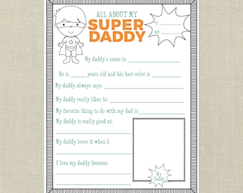 Father's Day Printable Gift---All About My Daddy and All About My Grandpa, Questionnaire, Interview, Super Hero, Super Daddy, Gift for Dad