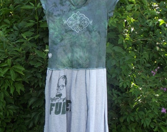 Recycled T shirt Dress FUDGE A Christmas Story  Medium Large Green Cool Boho Bohemian Upcycled Clothing  Patchwork Hippie Handmade