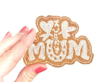 Lucky Mum. Mom gifts under 10. Iron on patches. mom patches. Mom gift from kids. Mom life. Patches for diaper bags. Diaper bag patch.