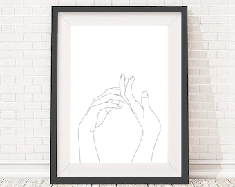 A3 Giclee print - Minimal line drawing of hands - Minimal art - Figurative line drawing