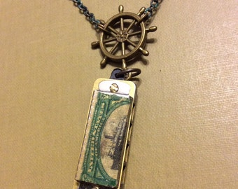 Miniature Harmonica Necklace with Authentic 1901 US Postage Stamps