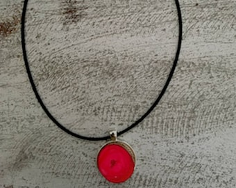 Pink wood Resin Pendant Necklace