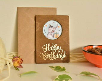 Wooden Happy Birthday Cards.Made From Wood Wish Greeting Card.Pay 3 Get 4.Perfect Gift For Someone Dear For You.Model Number (3)