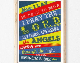 Now I Lay Me Down to Sleep Prayer, Christian Art print, Boy, Bedroom, Baby Boy, Blue & Red, Christian Art, Baptism Gift, Christening Gift.