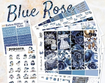NewRELEASE Blue Rose set kit weekly stickers - for classic medium HAPPY PLANNER - floral flowers girls fashion summer