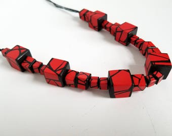 Statement Wood Necklace in RED