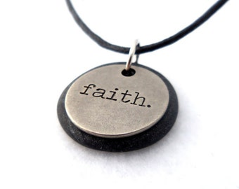 Faith Necklace, Word Pendant, Polymer Clay Inspirational Jewelry