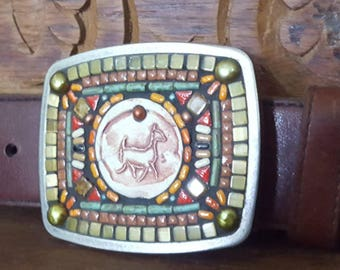 Mosaic Belt Buckle with Horse