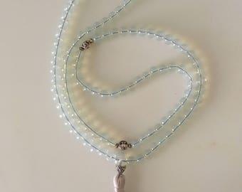 Opalite Mala Beads // Mala Necklace Tassel // Mala 108 Beads // Prayer Beads