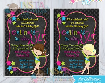 Gymnastics party Invitations Gymnast Girl Birthday invitation digital 4x6 invites black neon blonde brunette girls