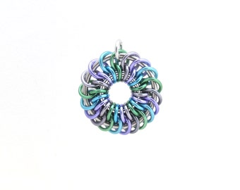 Pastel Jewelry, Pendant, Chain Maille Pendant, Multicolor Jewelry, Jump Ring Jewelry, Spiral Pendant