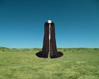 Cloak - Black Velvet Cape - Halloween Costume - Renaissance Wedding - Mardi Gras - Medieval