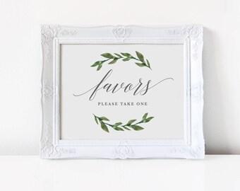 Printable Wedding Favors Sign | Greenery Wedding, Wedding Sign, Wedding Printable, Instant Download