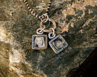 Photo Jewelry, charm cluster, PMC, handmade
