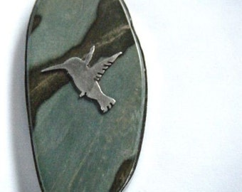 hummingbird silver pendant with natural stone